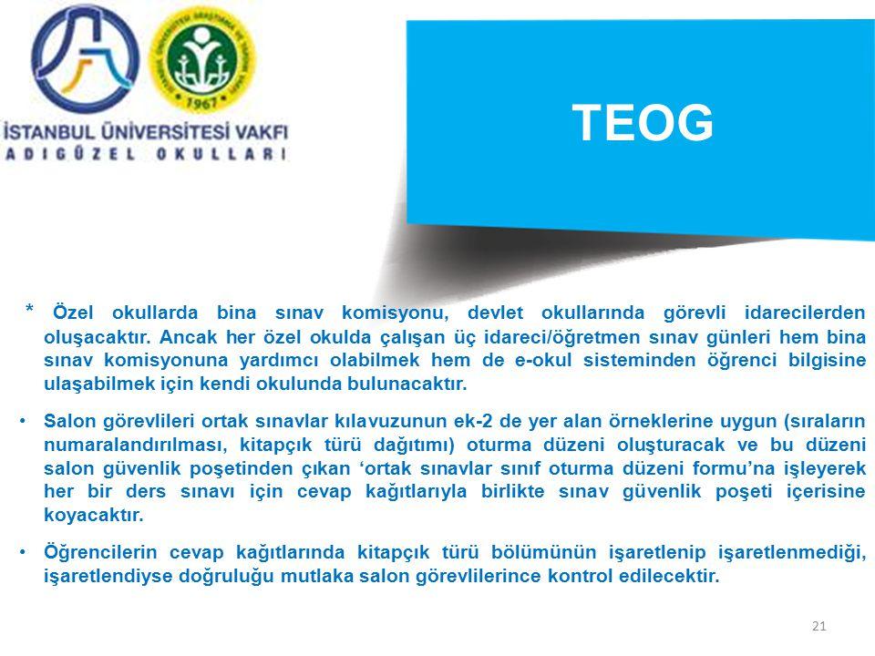 21 TEOG * Özel okullarda bina sınav komisyonu, devlet okullarında görevli idarecilerden oluşacaktır. Ancak her özel okulda çalışan üç idareci/öğretmen