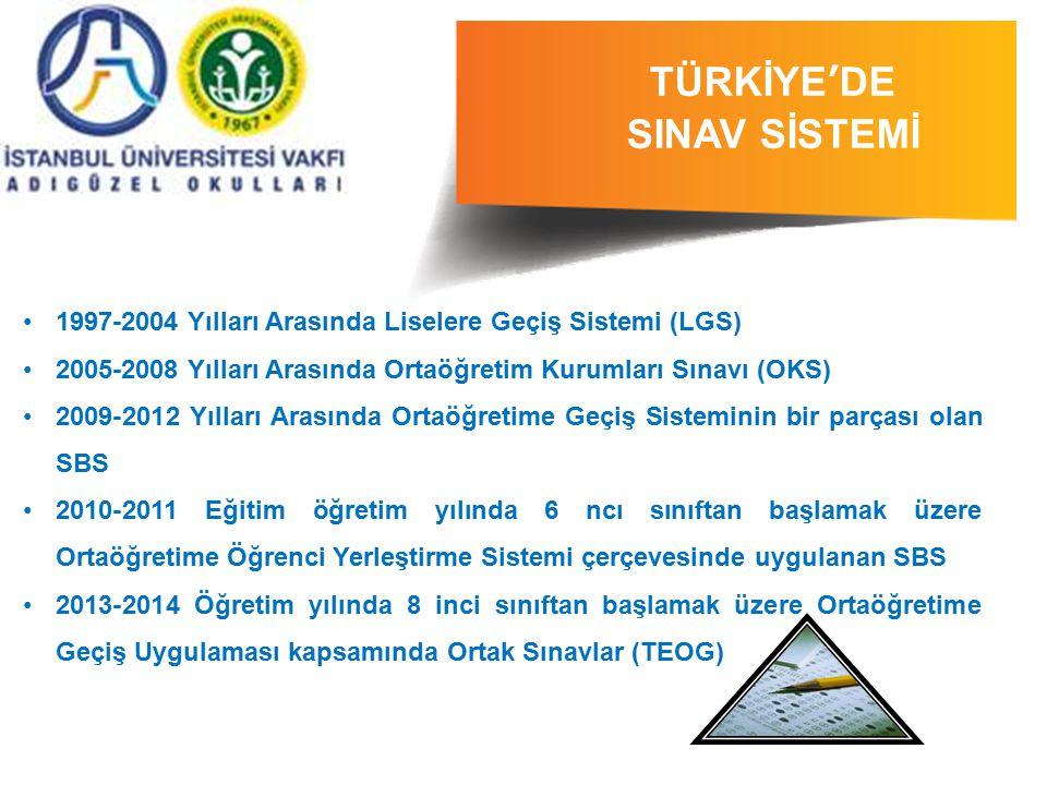 1997-2004 Yılları Arasında Liselere Geçiş Sistemi (LGS) 2005-2008 Yılları Arasında Ortaöğretim Kurumları Sınavı (OKS) 2009-2012 Yılları Arasında Ortaö