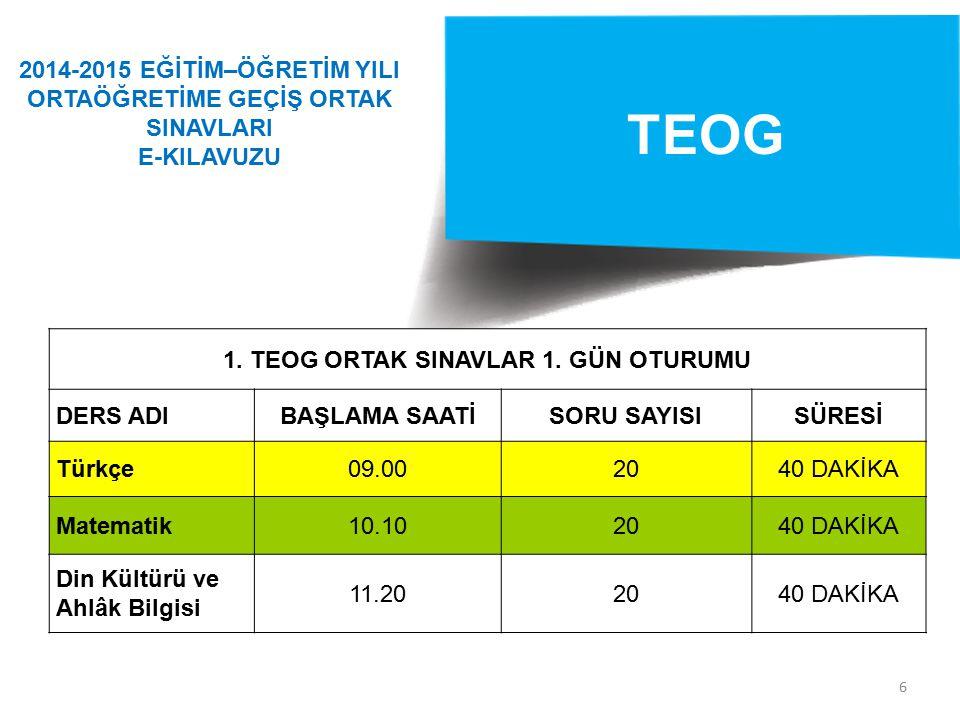 6 TEOG 1.TEOG ORTAK SINAVLAR 1.