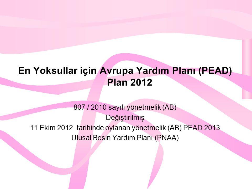 En Yoksullar için Avrupa Yardım Planı (PEAD) Plan 2012 807 / 2010 sayılı yönetmelik (AB) Değiştirilmiş 11 Ekim 2012 tarihinde oylanan yönetmelik (AB) PEAD 2013 Ulusal Besin Yardım Planı (PNAA)