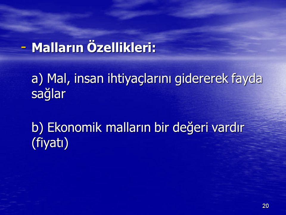 - Malların Özellikleri: a) Mal, insan ihtiyaçlarını gidererek fayda sağlar b) Ekonomik malların bir değeri vardır (fiyatı) 20