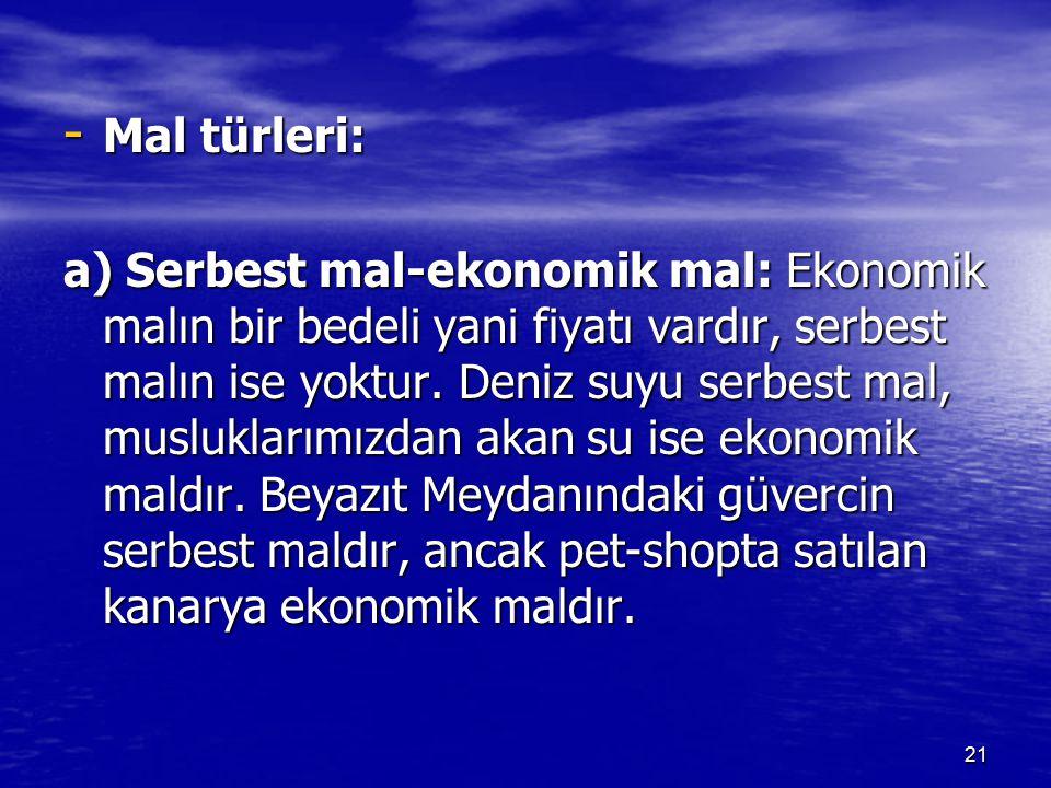 - Mal türleri: a) Serbest mal-ekonomik mal: Ekonomik malın bir bedeli yani fiyatı vardır, serbest malın ise yoktur. Deniz suyu serbest mal, muslukları