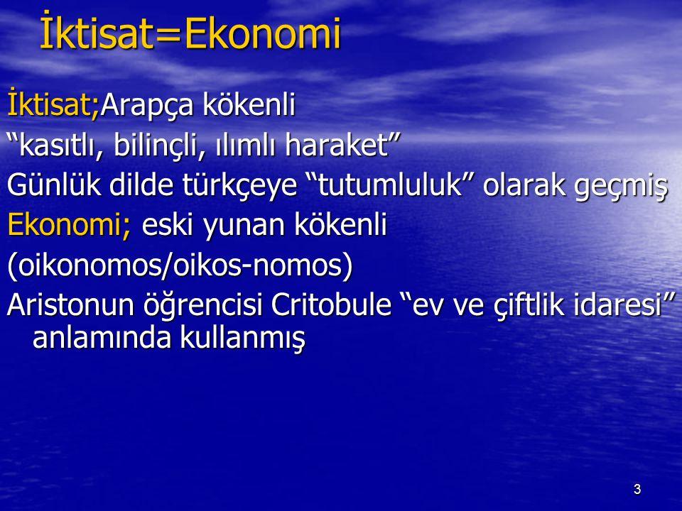 """3İktisat=Ekonomi İktisat;Arapça kökenli """"kasıtlı, bilinçli, ılımlı haraket"""" Günlük dilde türkçeye """"tutumluluk"""" olarak geçmiş Ekonomi; eski yunan köken"""