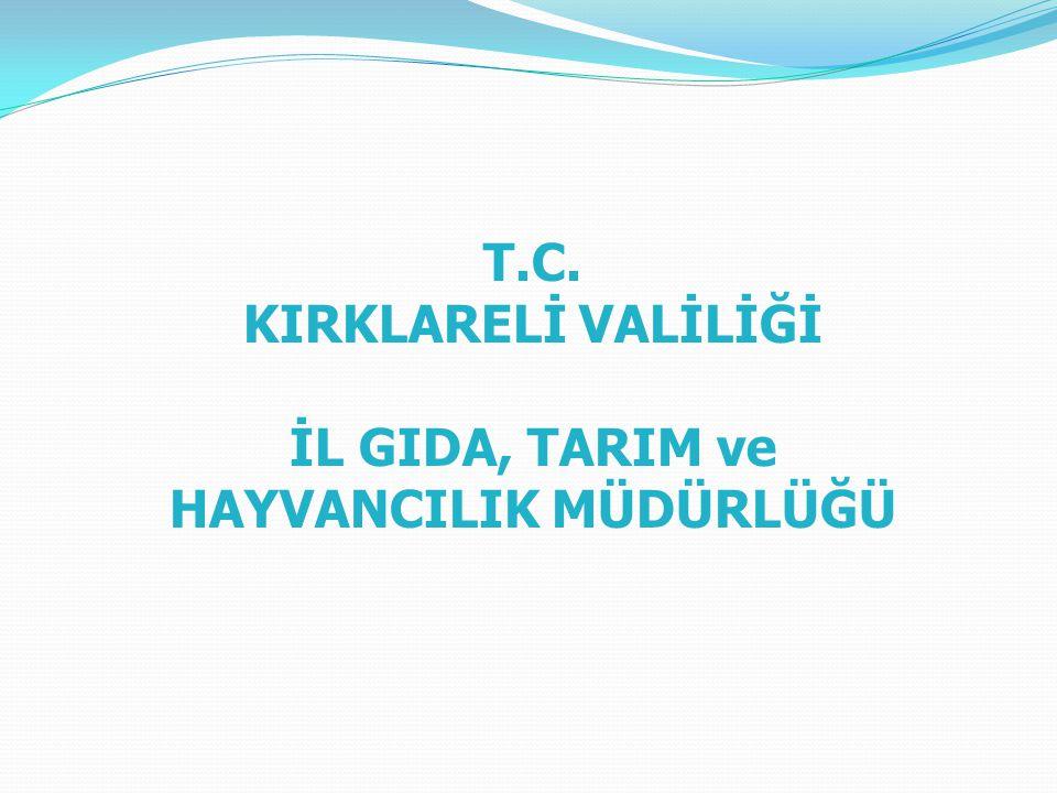 T.C. KIRKLARELİ VALİLİĞİ İL GIDA, TARIM ve HAYVANCILIK MÜDÜRLÜĞÜ