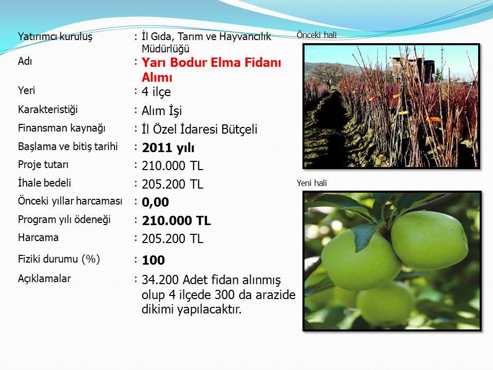 Yatırımcı kuruluş:İl Gıda, Tarım ve Hayvancılık Müdürlüğü Önceki hali Yeni hali Adı: Yarı Bodur Elma Fidanı Alımı Yeri: 4 ilçe Karakteristiği: Alım İş
