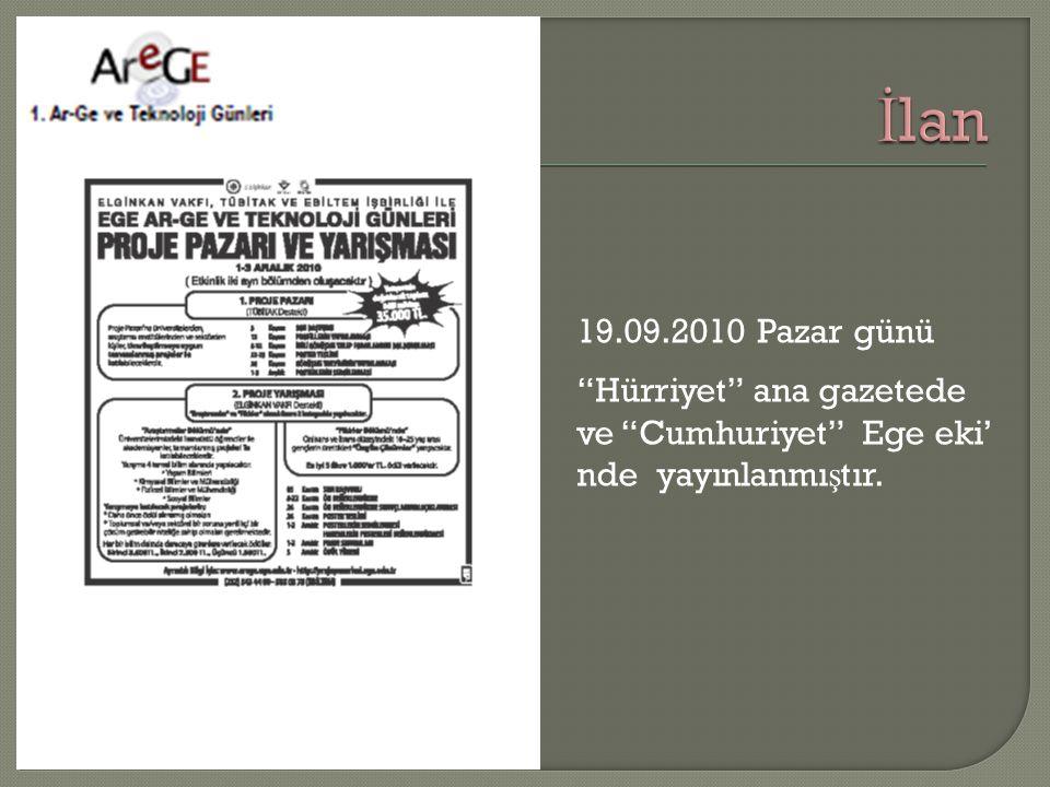"""19.09.2010 Pazar günü """"Hürriyet"""" ana gazetede ve """"Cumhuriyet"""" Ege eki' nde yayınlanmı ş tır."""