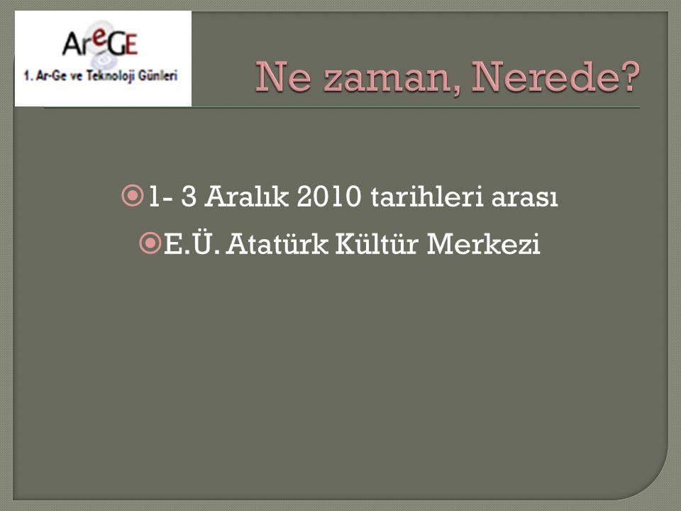  1- 3 Aralık 2010 tarihleri arası  E.Ü. Atatürk Kültür Merkezi