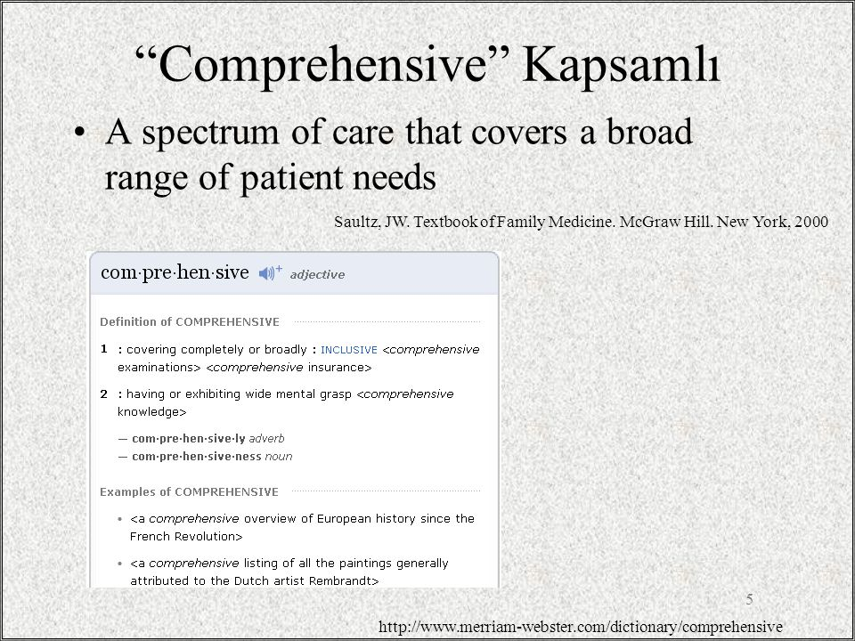 Comprehensive Kapsamlı A spectrum of care that covers a broad range of patient needs 5 http://www.merriam-webster.com/dictionary/comprehensive Saultz, JW.