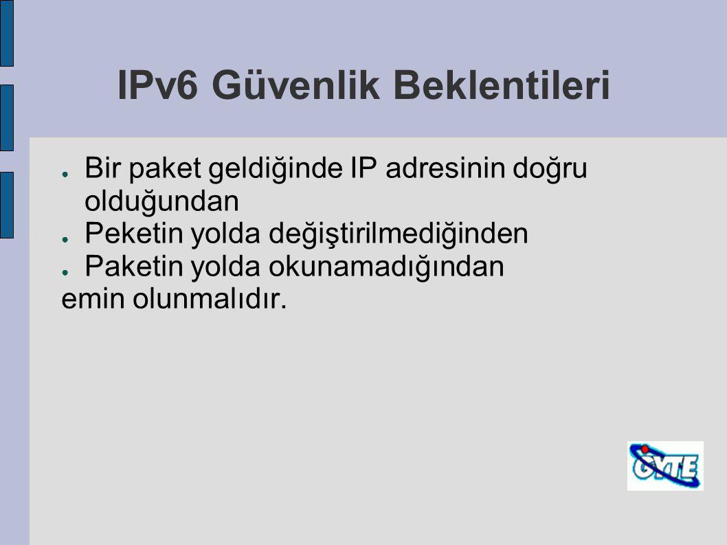 IPv6 Güvenlik Beklentileri ● Bir paket geldiğinde IP adresinin doğru olduğundan ● Peketin yolda değiştirilmediğinden ● Paketin yolda okunamadığından e