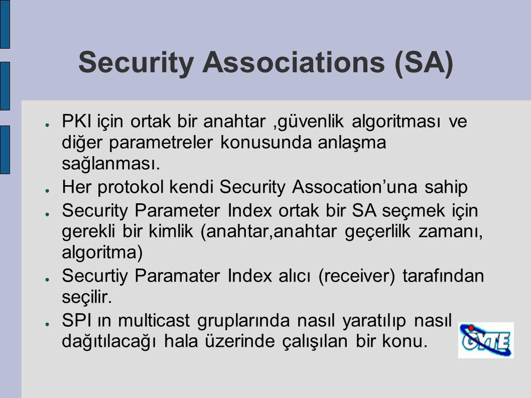 Security Associations (SA) ● PKI için ortak bir anahtar,güvenlik algoritması ve diğer parametreler konusunda anlaşma sağlanması. ● Her protokol kendi