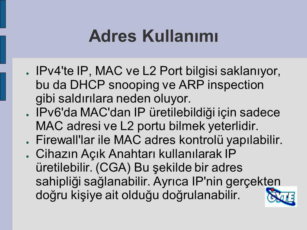 Adres Kullanımı ● IPv4'te IP, MAC ve L2 Port bilgisi saklanıyor, bu da DHCP snooping ve ARP inspection gibi saldırılara neden oluyor. ● IPv6'da MAC'da
