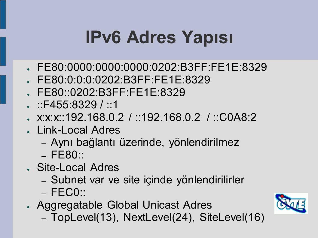 IPv6 Adres Yapısı ● FE80:0000:0000:0000:0202:B3FF:FE1E:8329 ● FE80:0:0:0:0202:B3FF:FE1E:8329 ● FE80::0202:B3FF:FE1E:8329 ● ::F455:8329 / ::1 ● x:x:x::