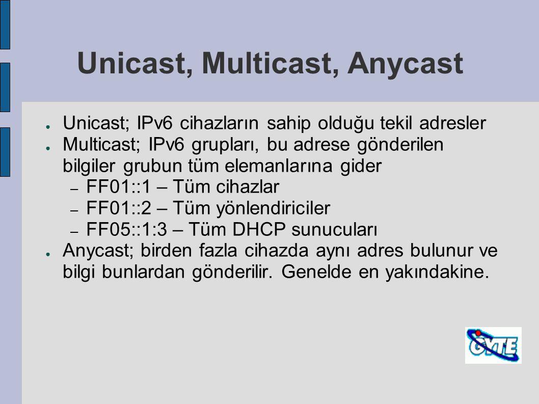 Unicast, Multicast, Anycast ● Unicast; IPv6 cihazların sahip olduğu tekil adresler ● Multicast; IPv6 grupları, bu adrese gönderilen bilgiler grubun tü