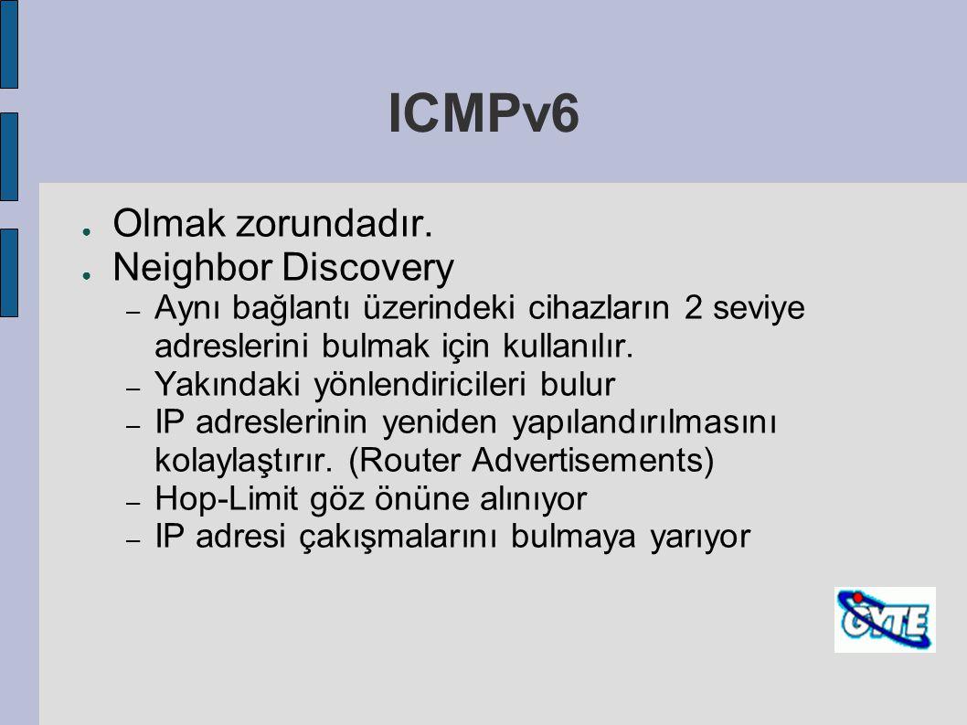 ICMPv6 ● Olmak zorundadır. ● Neighbor Discovery – Aynı bağlantı üzerindeki cihazların 2 seviye adreslerini bulmak için kullanılır. – Yakındaki yönlend