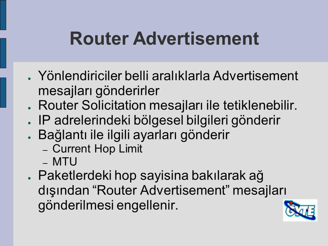 Router Advertisement ● Yönlendiriciler belli aralıklarla Advertisement mesajları gönderirler ● Router Solicitation mesajları ile tetiklenebilir. ● IP