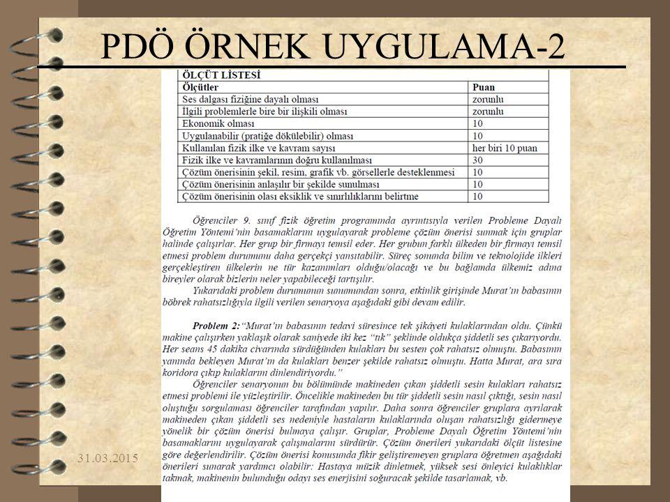31.03.2015Yrd.Doç.Dr. Fikret KORUR PDÖ ÖRNEK UYGULAMA-2