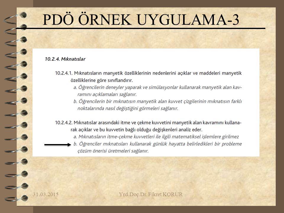 31.03.2015Yrd.Doç.Dr. Fikret KORUR PDÖ ÖRNEK UYGULAMA-3