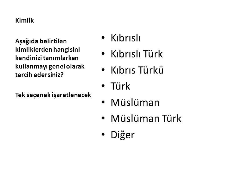Kimlik Kıbrıslı Kıbrıslı Türk Kıbrıs Türkü Türk Müslüman Müslüman Türk Diğer Aşağıda belirtilen kimliklerden hangisini kendinizi tanımlarken kullanmay