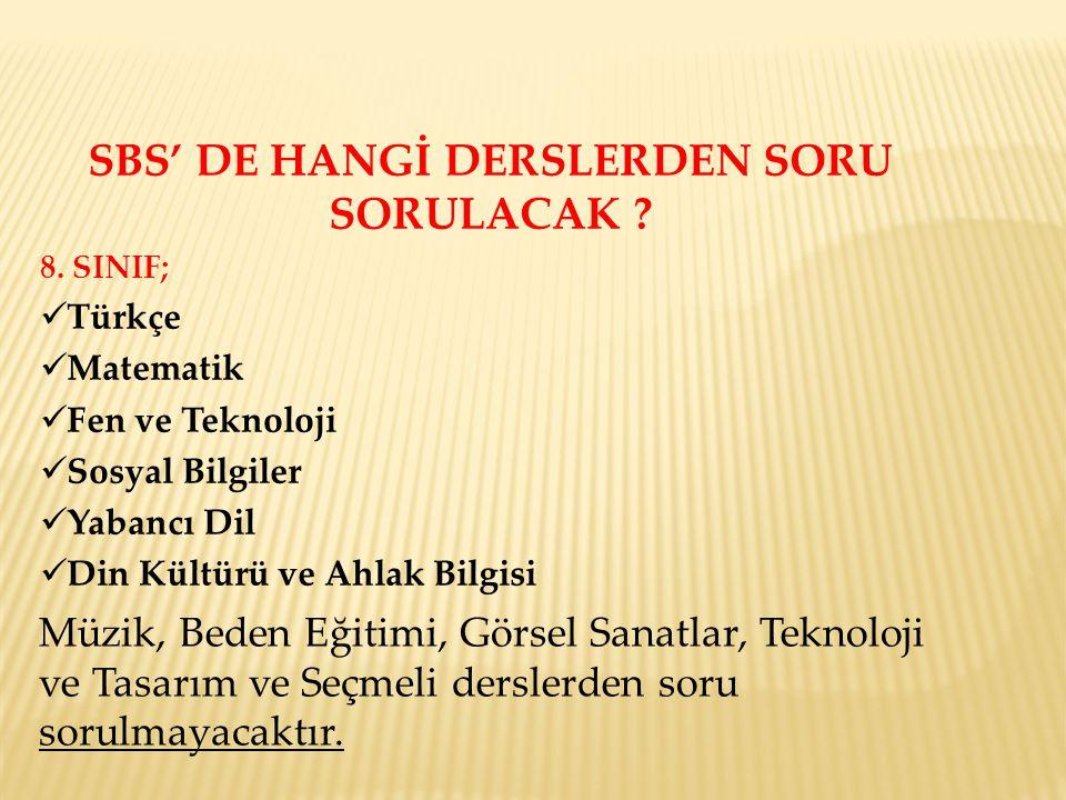 SBS' DE HANGİ DERSLERDEN SORU SORULACAK . 8.