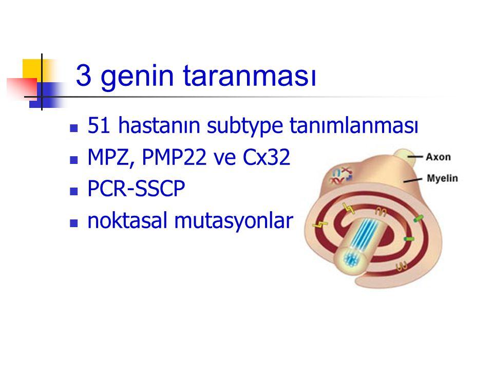 PMP22 17p12-11.2 ~40 kb = 2 intron ve 4 ekson 160 aa / 22 kDa protein 4 transmembran bölge Miyelin proteinlerinin 5-10% Schwann hücrelerinin ER'unda anlatılıyor Farklılaşmış Schwann hücrelerinin Go fazında devamlılığı Adhesyonda fonksiyon Noktasal mutasyonlar ve gen kopya dozu