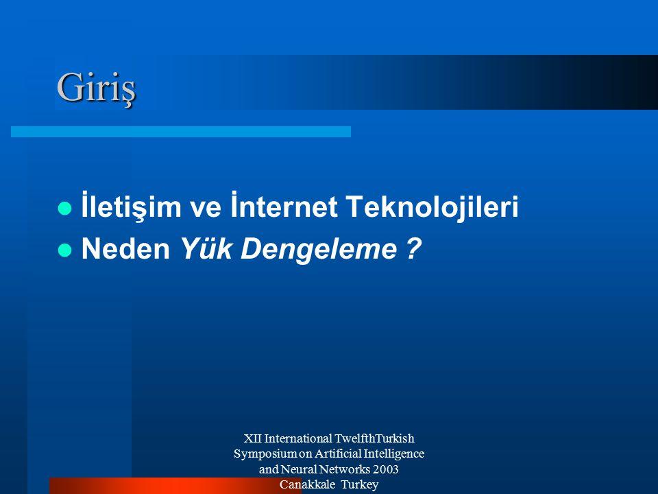XII International TwelfthTurkish Symposium on Artificial Intelligence and Neural Networks 2003 Canakkale Turkey Yüksek Erişilebilirlik ve Yük Dengeleme Yüksek Erişilebilirlik Yük Dengeleme DAHA FAZLA BİLGİ İÇİN...
