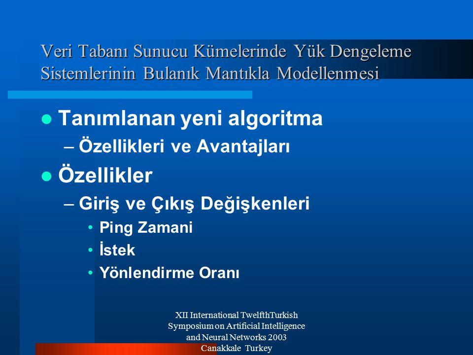 XII International TwelfthTurkish Symposium on Artificial Intelligence and Neural Networks 2003 Canakkale Turkey Veri Tabanı Sunucu Kümelerinde Yük Dengeleme Sistemlerinin Bulanık Mantıkla Modellenmesi Tanımlanan yeni algoritma –Özellikleri ve Avantajları Özellikler –Giriş ve Çıkış Değişkenleri Ping Zamani İstek Yönlendirme Oranı