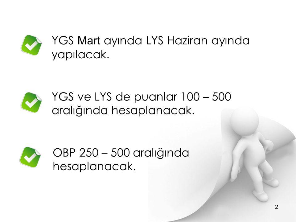 YGS Mart ayında LYS Haziran ayında yapılacak.