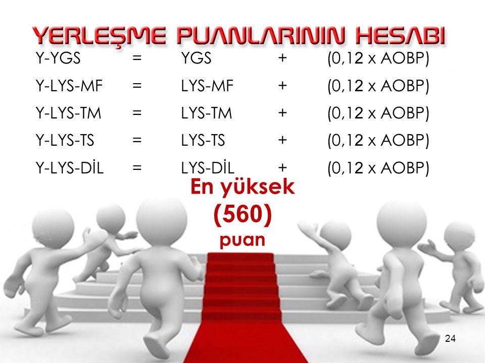 Y-YGS =YGS + (0,1 2 x AOBP) Y-LYS-MF =LYS-MF + (0,1 2 x AOBP) Y-LYS-TM =LYS-TM + (0,1 2 x AOBP) Y-LYS-TS =LYS-TS + (0,1 2 x AOBP) Y-LYS-DİL =LYS-DİL + (0,1 2 x AOBP) En yüksek (5 60 ) puan 24