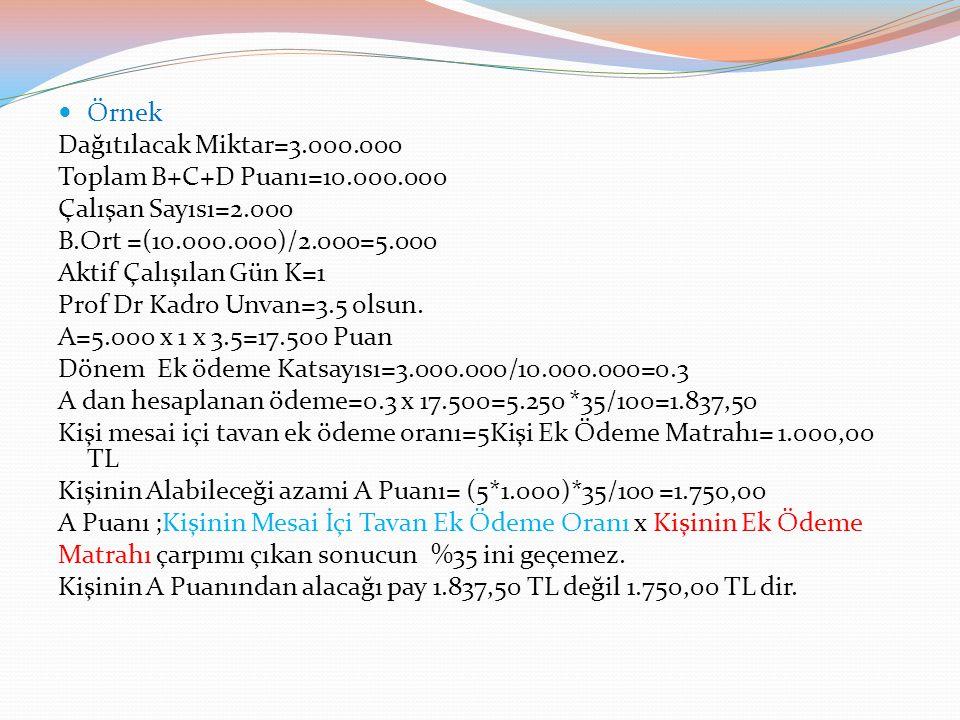 Örnek Dağıtılacak Miktar=3.000.000 Toplam B+C+D Puanı=10.000.000 Çalışan Sayısı=2.000 B.Ort =(10.000.000)/2.000=5.000 Aktif Çalışılan Gün K=1 Prof Dr