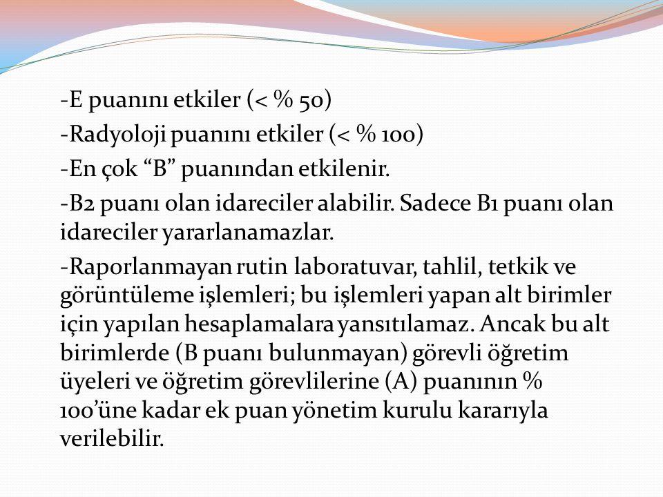"""-E puanını etkiler (< % 50) -Radyoloji puanını etkiler (< % 100) -En çok """"B"""" puanından etkilenir. -B2 puanı olan idareciler alabilir. Sadece B1 puanı"""