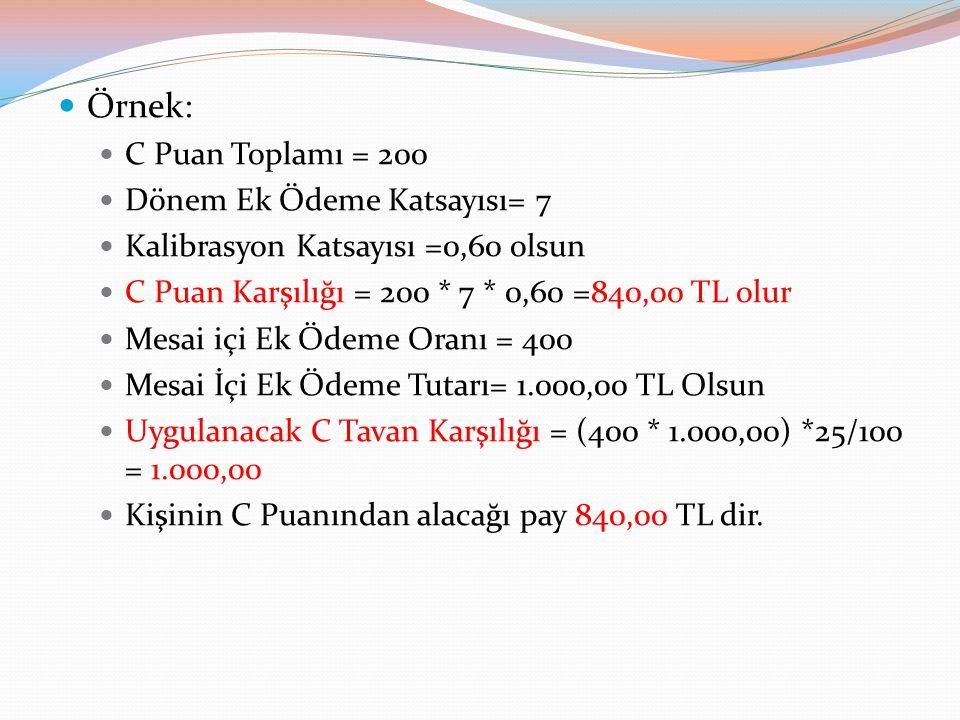 Örnek: C Puan Toplamı = 200 Dönem Ek Ödeme Katsayısı= 7 Kalibrasyon Katsayısı =0,60 olsun C Puan Karşılığı = 200 * 7 * 0,60 =840,00 TL olur Mesai içi