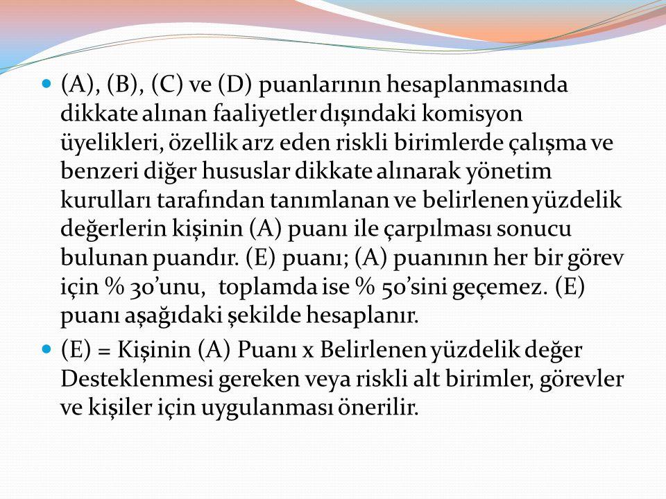 (A), (B), (C) ve (D) puanlarının hesaplanmasında dikkate alınan faaliyetler dışındaki komisyon üyelikleri, özellik arz eden riskli birimlerde çalışma