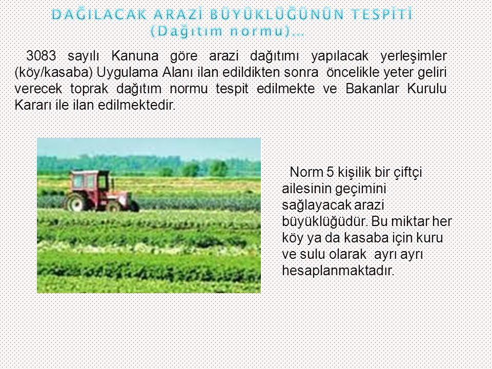 3083 sayılı Kanuna göre arazi dağıtımı yapılacak yerleşimler (köy/kasaba) Uygulama Alanı ilan edildikten sonra öncelikle yeter geliri verecek toprak d