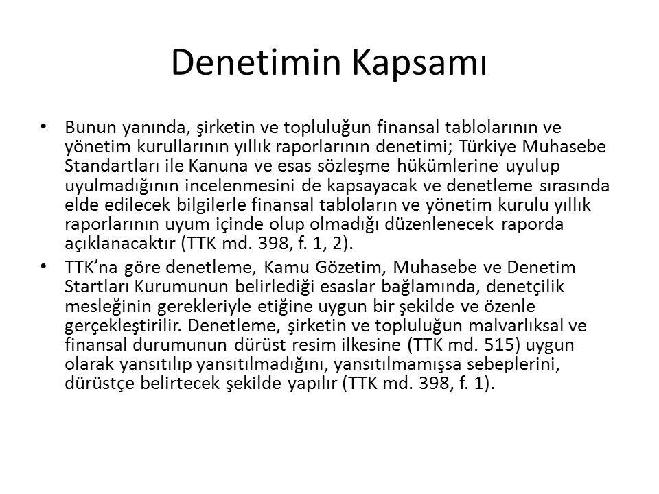 Denetimin Kapsamı Bunun yanında, şirketin ve topluluğun finansal tablolarının ve yönetim kurullarının yıllık raporlarının denetimi; Türkiye Muhasebe S