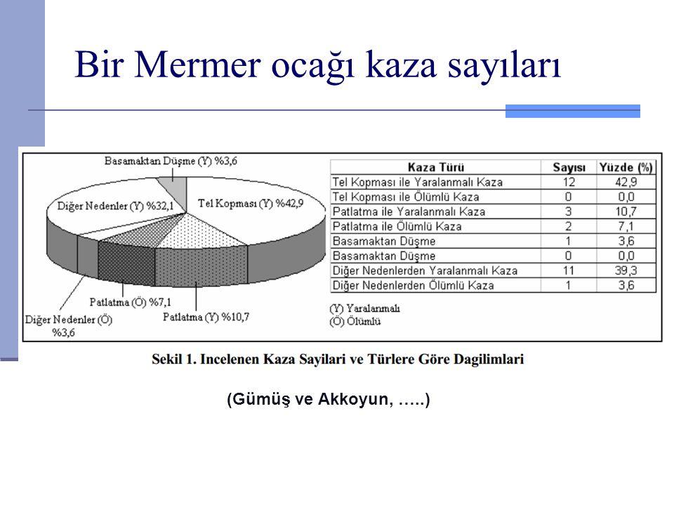 Bir Mermer ocağı kaza sayıları (Gümüş ve Akkoyun, …..)