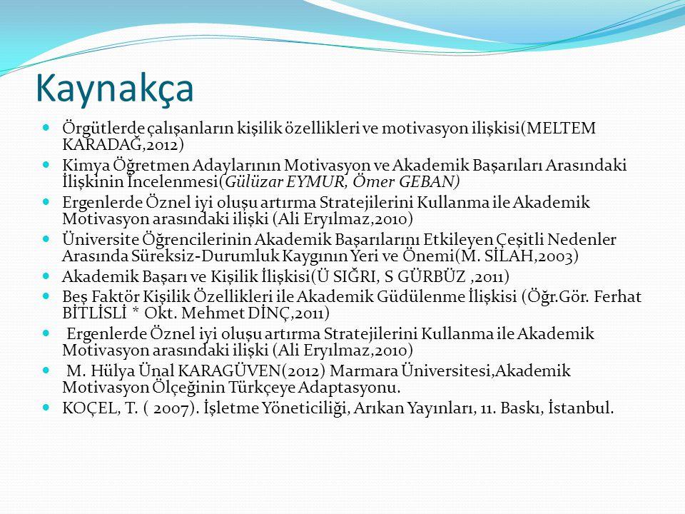 Kaynakça Örgütlerde çalışanların kişilik özellikleri ve motivasyon ilişkisi(MELTEM KARADAĞ,2012) Kimya Öğretmen Adaylarının Motivasyon ve Akademik Baş