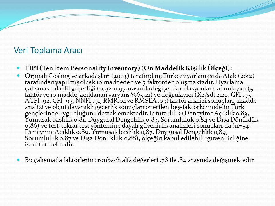 Veri Toplama Aracı TIPI (Ten Item Personality Inventory) (On Maddelik Kişilik Ölçeği): Orjinali Gosling ve arkadaşları (2003) tarafından; Türkçe uyarl