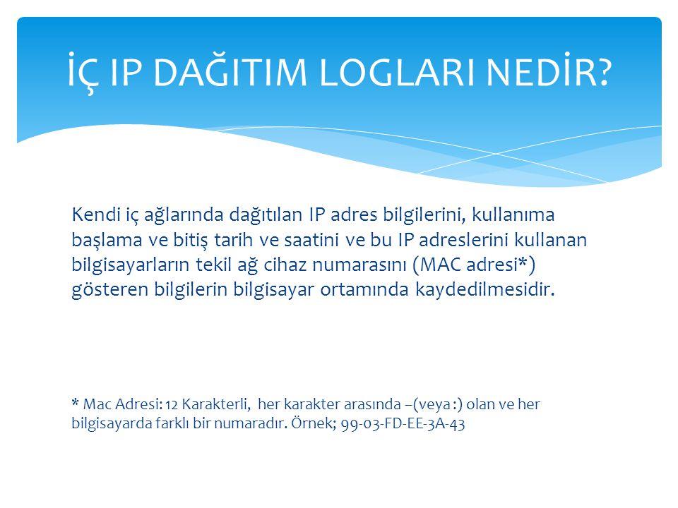 Kendi iç ağlarında dağıtılan IP adres bilgilerini, kullanıma başlama ve bitiş tarih ve saatini ve bu IP adreslerini kullanan bilgisayarların tekil ağ