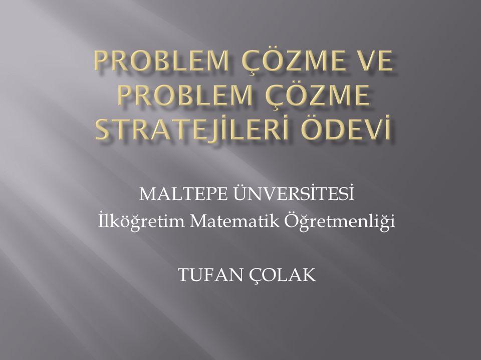 MALTEPE ÜNVERSİTESİ İlköğretim Matematik Öğretmenliği TUFAN ÇOLAK