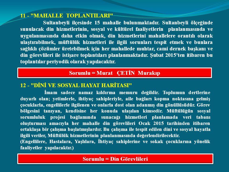 11 - MAHALLE TOPLANTILARI Sultanbeyli ilçesinde 15 mahalle bulunmaktadır.
