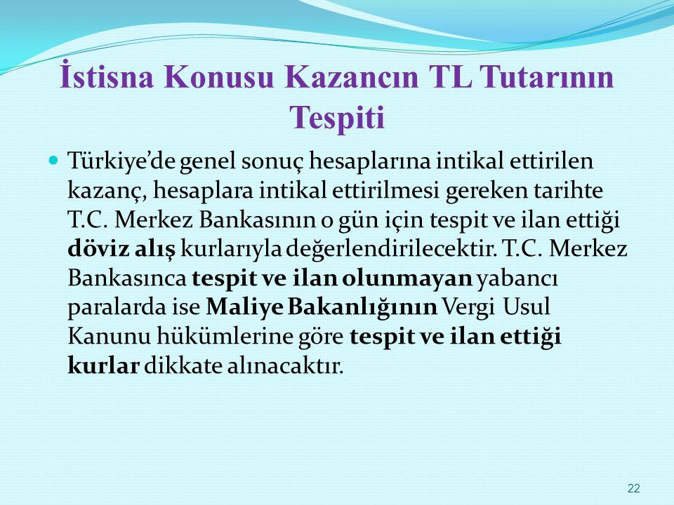 İstisna Konusu Kazancın TL Tutarının Tespiti Türkiye'de genel sonuç hesaplarına intikal ettirilen kazanç, hesaplara intikal ettirilmesi gereken tariht