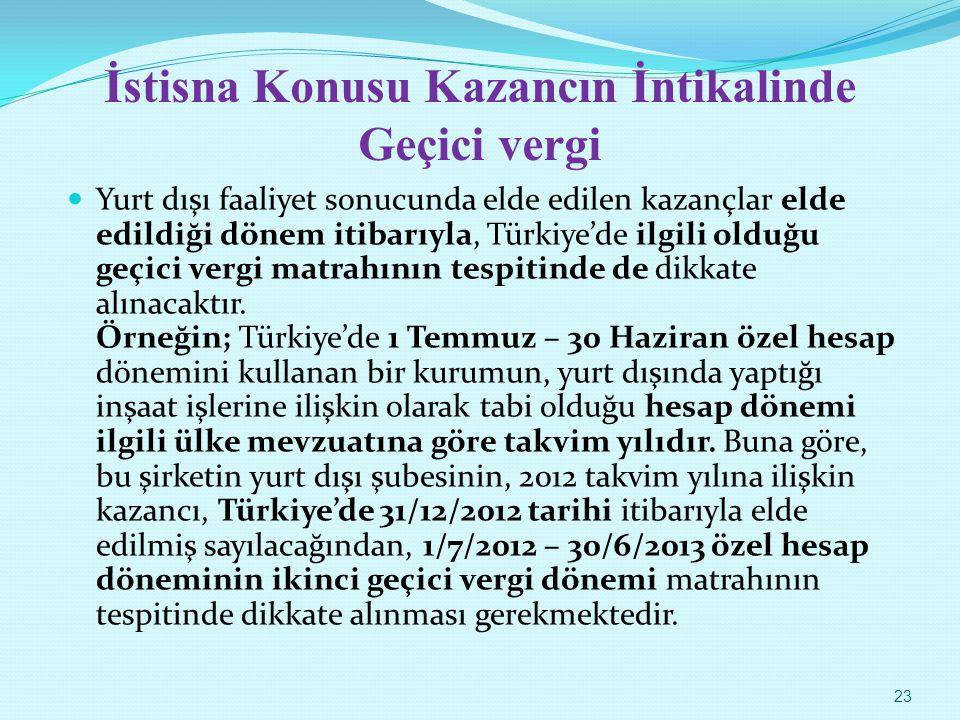 İstisna Konusu Kazancın İntikalinde Geçici vergi Yurt dışı faaliyet sonucunda elde edilen kazançlar elde edildiği dönem itibarıyla, Türkiye'de ilgili