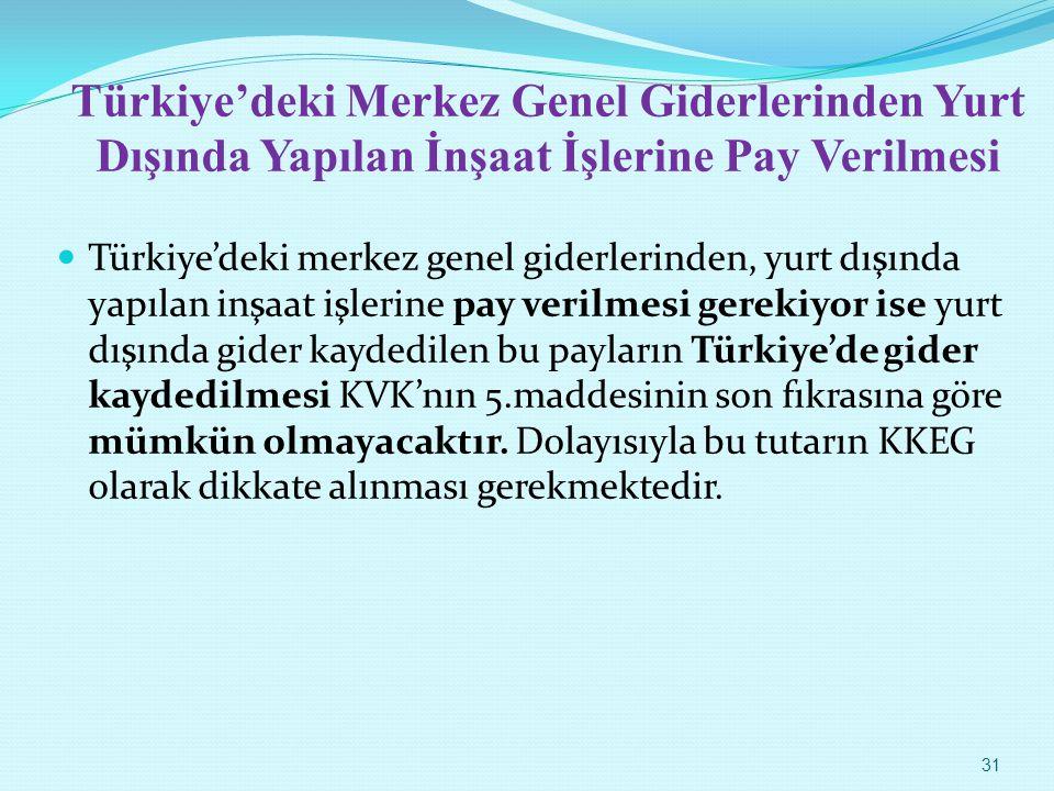 Türkiye'deki Merkez Genel Giderlerinden Yurt Dışında Yapılan İnşaat İşlerine Pay Verilmesi Türkiye'deki merkez genel giderlerinden, yurt dışında yapıl