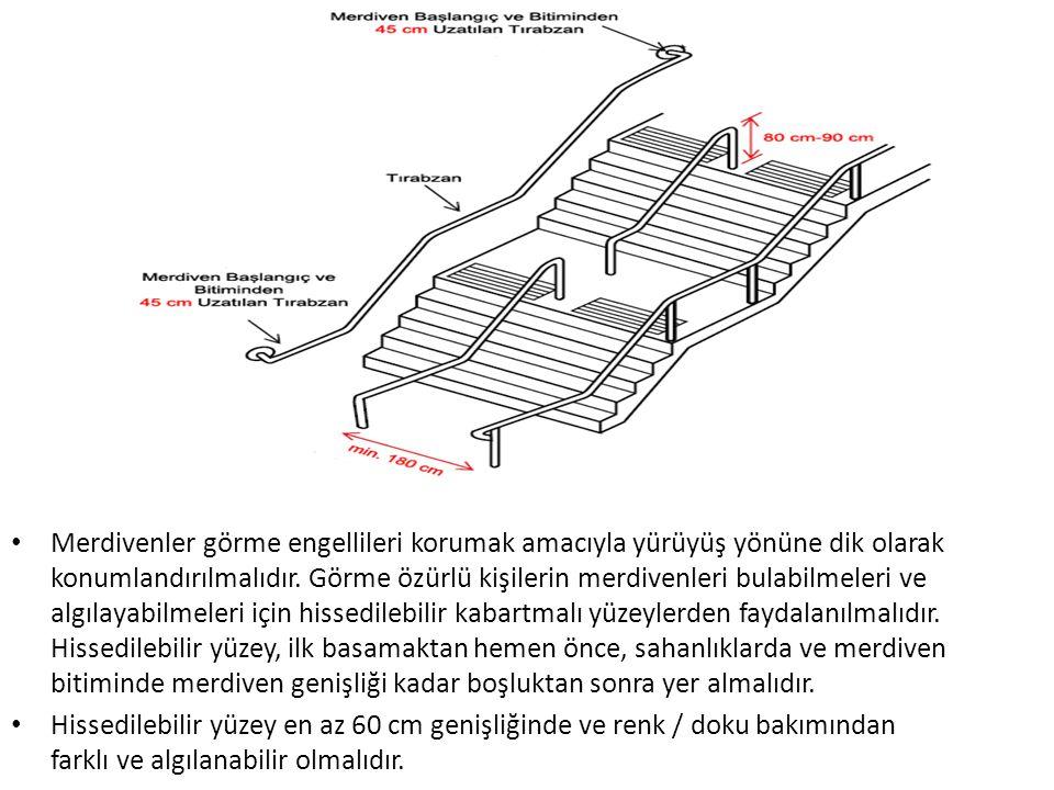 Merdivenler görme engellileri korumak amacıyla yürüyüş yönüne dik olarak konumlandırılmalıdır. Görme özürlü kişilerin merdivenleri bulabilmeleri ve al