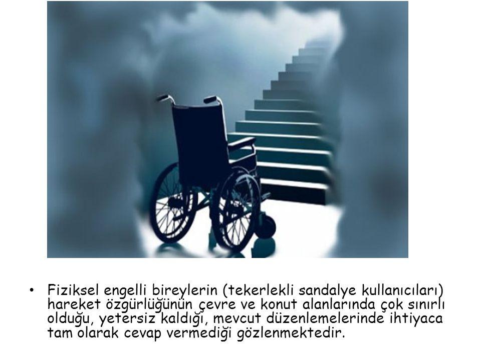 Fiziksel engelli bireylerin (tekerlekli sandalye kullanıcıları) hareket özgürlüğünün çevre ve konut alanlarında çok sınırlı olduğu, yetersiz kaldığı,