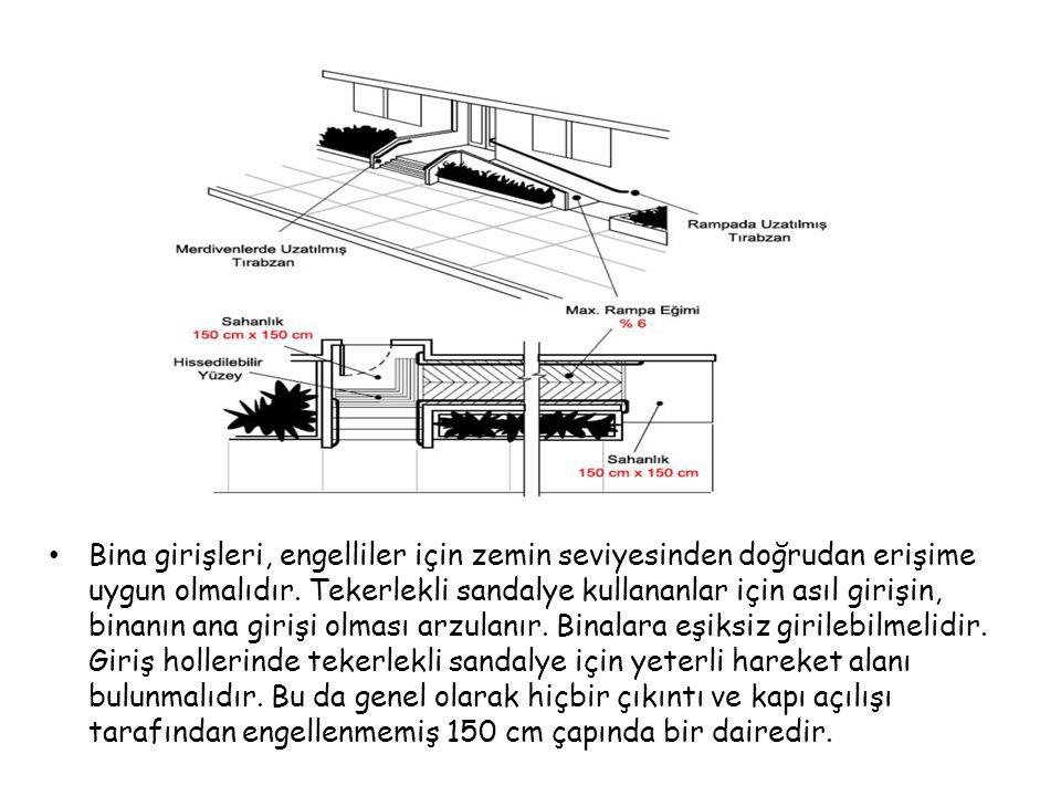 Bina girişleri, engelliler için zemin seviyesinden doğrudan erişime uygun olmalıdır. Tekerlekli sandalye kullananlar için asıl girişin, binanın ana gi