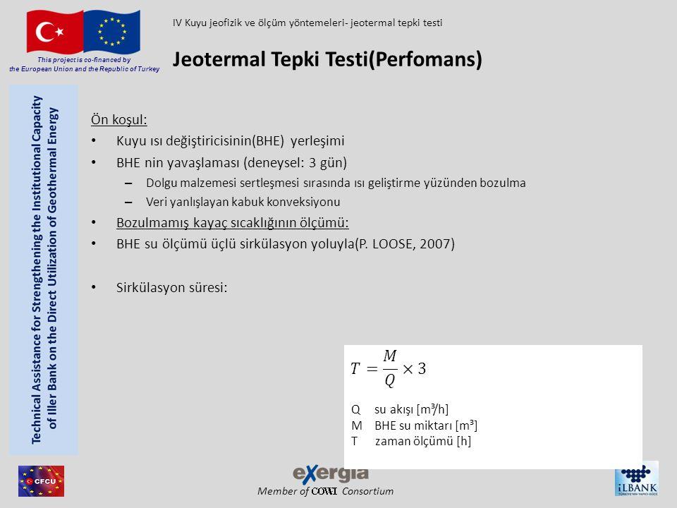 Member of Consortium This project is co-financed by the European Union and the Republic of Turkey Test sondajı/mevcut sondaj testin performansı: Sabit su akışı yolu ile ısı girşi ve tanımlanmış sabit termal çıkışı Akışkan su için koşul: Türbülanslı akış  Reynolds sayısı > 3000 (SANNER, 2002) Terma çıkış için koşul: 30 - 50 W/m (MATTSSON, N., STEINMANN, G., LALOUI, L., 2007) 3 ve 5 K arasında sıcaklık farkı(GEHLIN, 2002) Jeotermal Tepki Testi(Perfomans) IV Kuyu jeofizik ve ölçüm yöntemeleri- jeotermal tepki testi P Kapasite [W] q ısı miktarı BHEda [W/m] H BHE'nin uzunluğu [m] P Kapasite [W] m kütle akış debisi[kg/s] ΔT alış ve veriş arasındaki sıcaklık farkı[K] c özgül ısı kapasitesi[kJ/kg K]