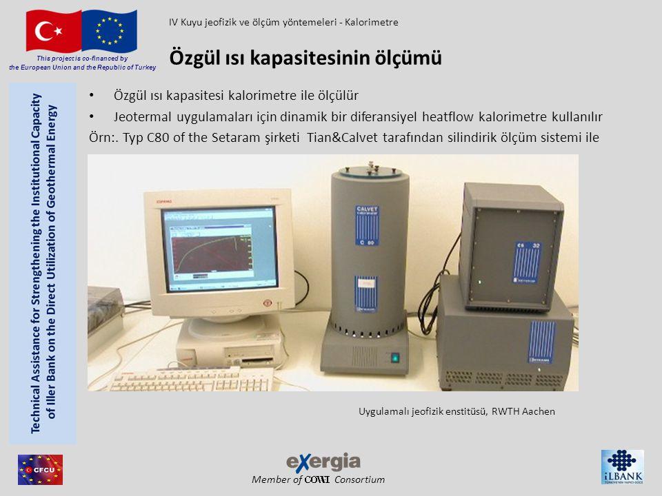 Member of Consortium This project is co-financed by the European Union and the Republic of Turkey Özgül ısı kapasitesi kalorimetre ile ölçülür Jeoterm
