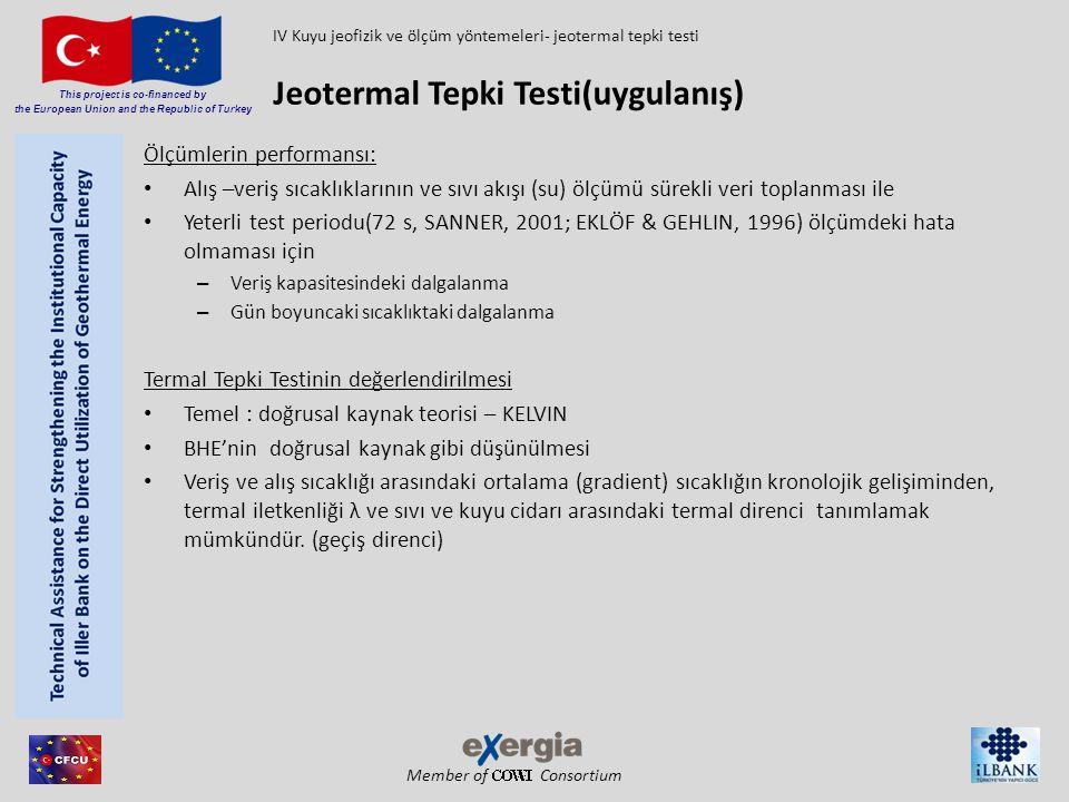 Member of Consortium This project is co-financed by the European Union and the Republic of Turkey Derinliğe bağlı termal parametrelerin değerlendirilmesi (ısı iletkenliği, kuyu içi direnç)  Tekli jeolojik katmanların parametreleri Hibrit kablo (fiberglas/bakır kablo) Akiferlerin tanımlanması Filtre hızının ölçümü Anüler boşluk doldurma Kontrolü Çoklu BHE lerin eş zamanlı kontrolü Geliştirilmiş Jeotermal Tepki Testi(EGRT) IV Kuyu jeofizik ve ölçüm yöntemeleri- Geliştrilmiş jeotermal tepki testi DTS: Dağıtılmış Sıcaklık Sensörü (Dornstädter 2008)