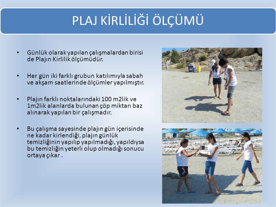Günlük olarak yapılan çalışmalardan birisi de Plajın Kirlilik ölçümüdür. Her gün iki farklı grubun katılımıyla sabah ve akşam saatlerinde ölçümler yap